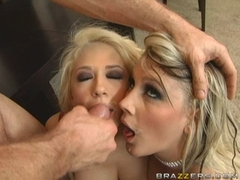 Kagney Karter and her friend recieves a reward load of cum on their mouths