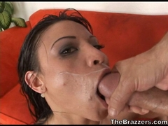 Jayna Oso gets sprayed with a fresh jizz on her face