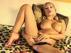 Big titted Anette Dawn finger fucking her wet clit on her bed