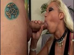 Pornstar Nicki Hunter enjoys sucking a huge hard meat