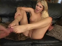 Blonde Sabrina Snow gets banged doggystyle and gets creamy cumshot on her feet