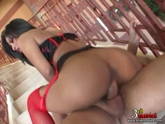 Hot asian babe Nyomi Marcella riding on a big white dick