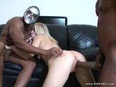 Hot blond Aaralyn Barra gets teamed by two massive freak cocks