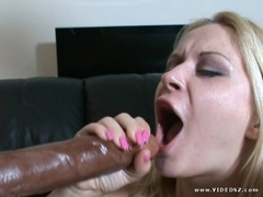 Blonde slut Aaralyn Barra gets dominated and creamed by two freak black pipes