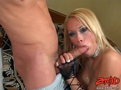Busty babe Lexie Marie blows a long hard meat cock