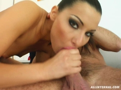 Cindy Hope takes a long hard banana on her mouth