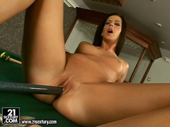 Delicious babe Larissa Dee shoving a long pool stick in her tiny hole