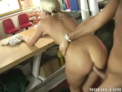 Eden Adams getting screwed on her twat by a big cock at the counter table