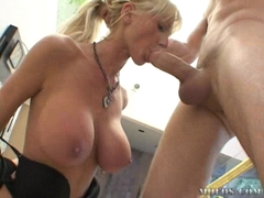 Tanya James fills her throat with a long hard cock outdoor