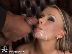 Vivian gets double warm load of cum on her mouth