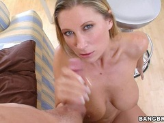 Busty blonde milf Devon Lee blowing a big pipe and takes a messy facial
