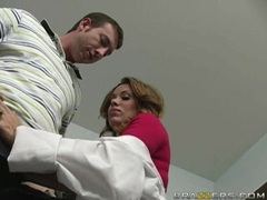 Sexy milf doctor Sienna West blowing a large fat dick