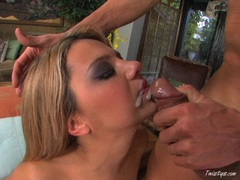 Cute babe Ashlynn Brooke taking a big cock from behind and gets facialised