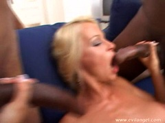 Horny babe Nikki Sun attacks by a group of big black cocks