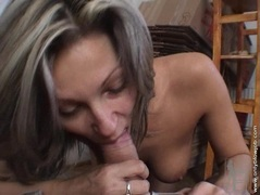 Caroline Cage gets naked and takes a big hard cock on her mouth