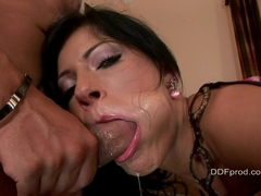 Horny babe Natalie Colt takes a hard meat shaft deep in her throat