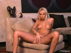 Blonde bombshell Jana Cova playing with her pussy on the couch