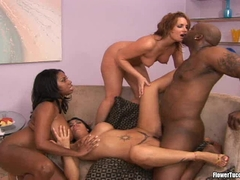 Blonde Flower Tucci and busty friends having a wild interracial threesome