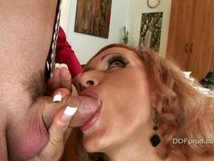 Beautiful milf Sharon Pink deepthroating her boss big dick