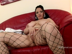 Big tits Joanna Bliss on the couch playing her horny cunt