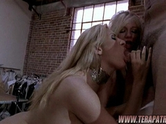 Hot babes Chloe Morgan and friend sharing a big hard meatpole