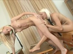 Skinny blondes Gitta Blond and Pink Pussy having a lesbo action in the classroom