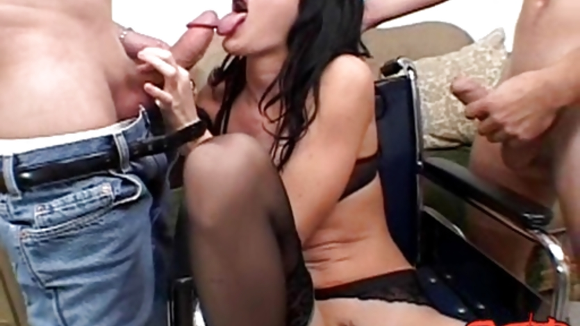 Sexy Taylor Rain gagging two huge hard meatpoles