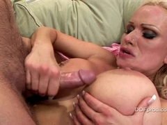 Big boobed Sharon Pink blowing a fat cock and cummed