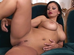 Aria Giovanni getting wet and hot on the couch