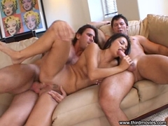 Aubrey Adams gets double screwed on her two holes at the couch