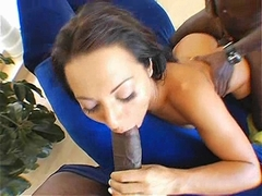 Horny babe Sandra Romain gets teamed by two huge black dongs
