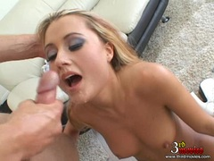 Sexy babe Ginger Lee gets her tight hole gapped and facialised