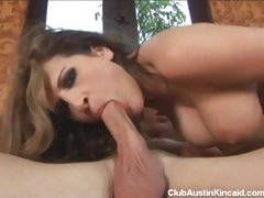 Brunette hottie Austin Kincaid gagging and fucking a large stiff