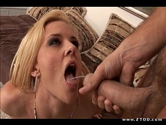 Blonde babe Hannah Harper gets fucked hard and takes a huge faceblast