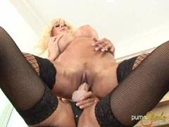Busty Puma Swede and Monica Mayhem fucking with a huge strap on dildo