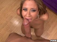Blond slut August deepthroating a big hard dick