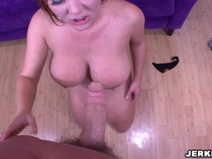 Horny Claire Dames sucking a big cock and gets her massive tits fucked