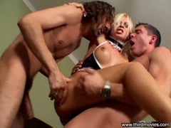 Sharka Blue gets a warm load of cum on her juicy mouth