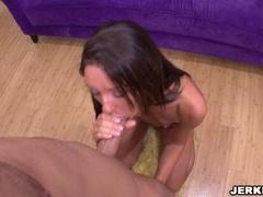 Cutie Jordana James showing her sock sucking talent