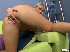 Nikki Kane on her naked body masturbates her twat until she cums