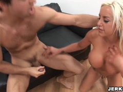 Busty blonde Savannah Gold humps her pussy hard and takes creamy facial cumblow