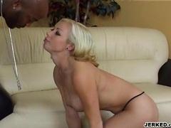 Hot blonde Adrianna Nicole gagging a massive black meat