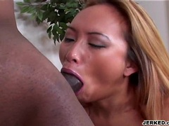 Pornstar Bamboo gets gagged by a long massive black dick