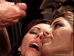 Angelica Sin and her friend recieves a warm load of cum on their mouths