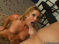 Nasty Flower Tucci gets a warm jizzload spilling on her mouth