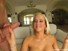 Busty Stacy Silver takes two hard cocks on her mouth alternately