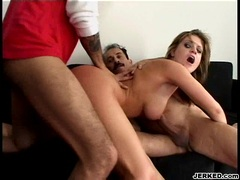 Tyla Wynn getting pinned on her butthole while sucking another cock