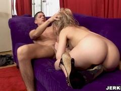 Nasty blonde Kayla Marie deepthroats a big dong and gets a huge facial