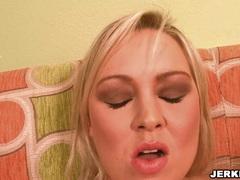 Blondie Abbey Brooks shoves a big dildo toy in her wet twat