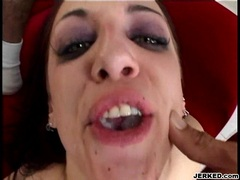 Pornstar Deja Daire gets dominated and cummed by two huge dongs